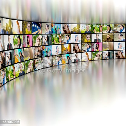 451823313 istock photo tv screens with video stills showing many people 484967298