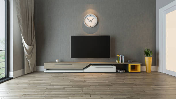 tv stand in the living room decor idea stock photo