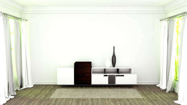 Cтоковое фото Tv stand with wooden flooring on white wall background. 3D rendering