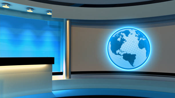 Tv Studio. News studio. Blue studio. The perfect backdrop for any green screen or chroma key video or photo production. 3D rendering stock photo