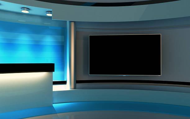 studio della tv. studio di notizie. - scenario foto e immagini stock