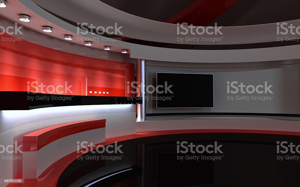 Tv Studio. News studio stock photo