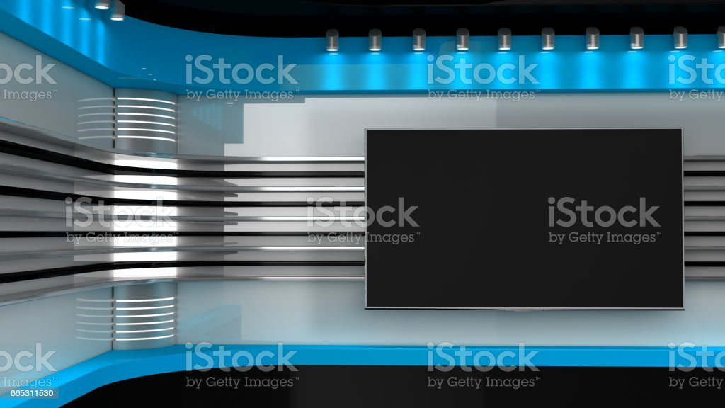 Tv Studio. Red studio. Backdrop for TV shows .TV on wall. News studio. The perfect backdrop for any green screen or chroma key video or photo production. 3D rendering. stock photo