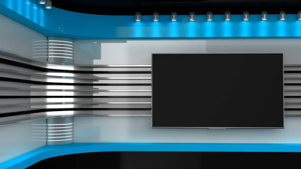 Tv 스튜디오입니다. 레드 스튜디오입니다. TV 프로그램에 대 한 배경 막입니다. 벽에 텔레비젼입니다. 뉴스 스튜디오입니다. 어떤 녹색 화면 또는 크로마 키 비디오 또는 사진을 생산에 대 한 완벽 한 배경 막. 3D 렌더링입니다. 스톡 사진