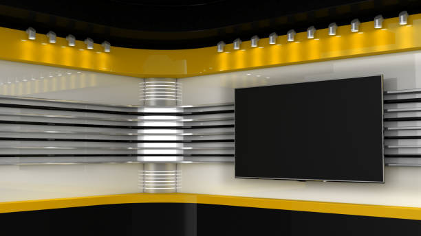 Tv Studio. Yellow studio. Backdrop for TV shows .TV on wall. News studio. The perfect backdrop for any green screen or chroma key video or photo production. 3D rendering. stock photo
