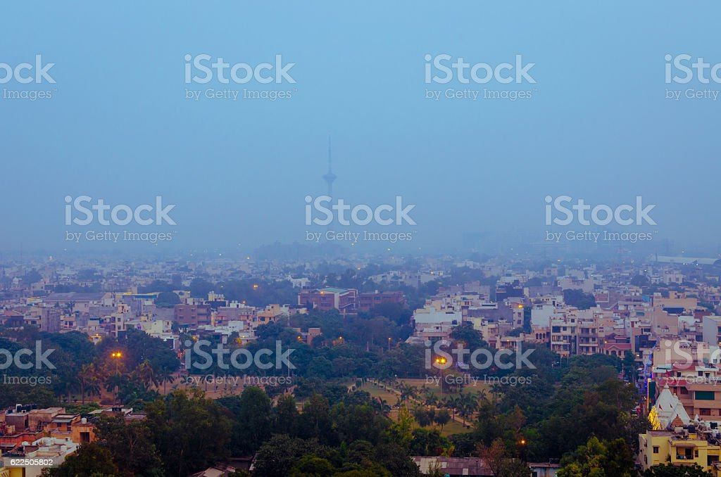 Tv Tower in smog pollution New Delhi City India stock photo