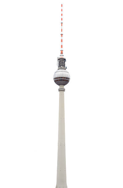 fernsehturm oder fersehturm in berlin isoliert - berliner fernsehturm stock-fotos und bilder