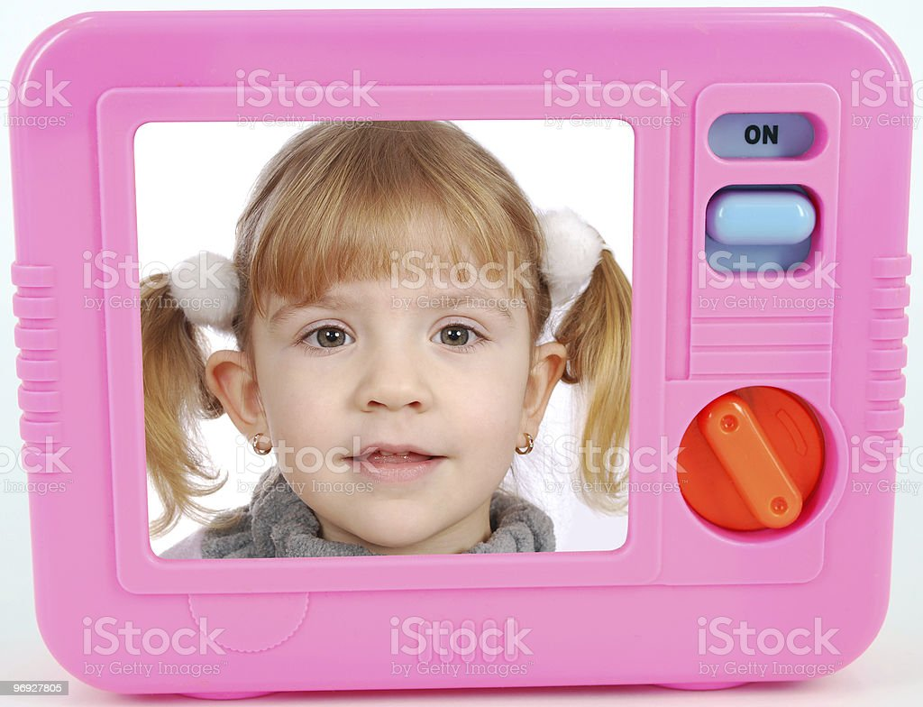 tv toy with little girl on screen royalty-free stock photo