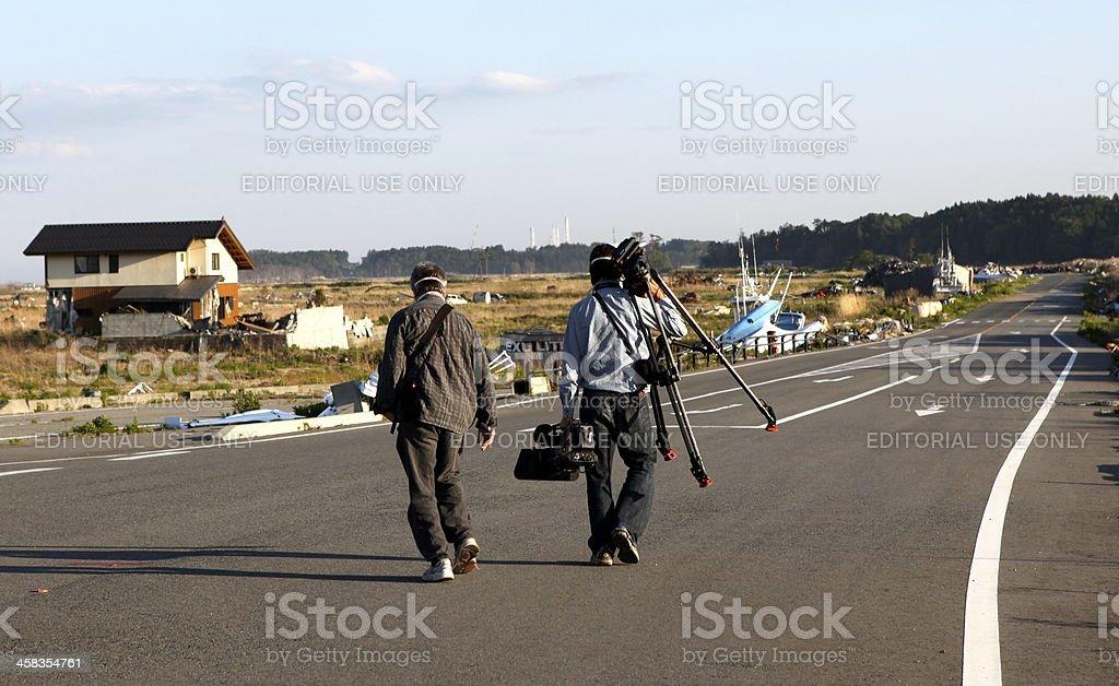 TV-crew in Fukushima stock photo