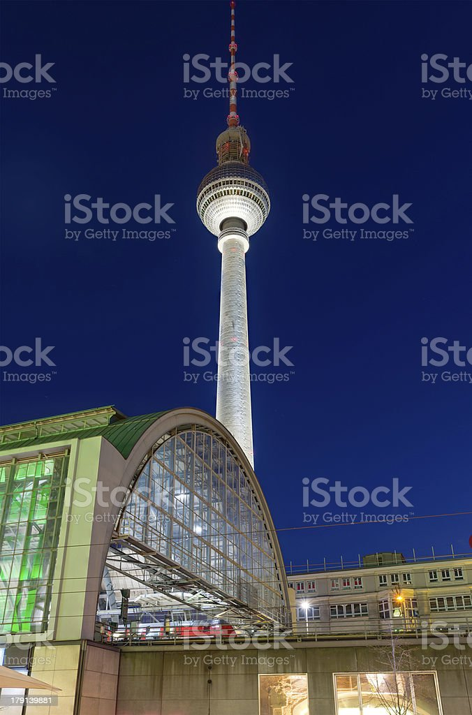 TV-tower in Berlin at night royalty-free stock photo