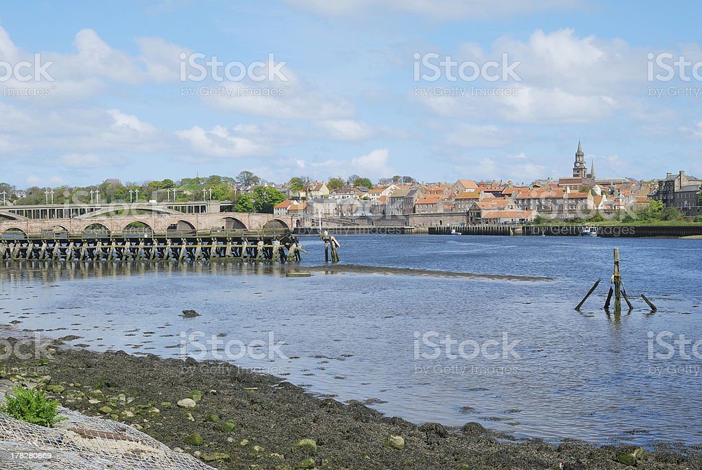 Tweed estuary to Berwick-upon-Tweed city walls, bridges and river stock photo