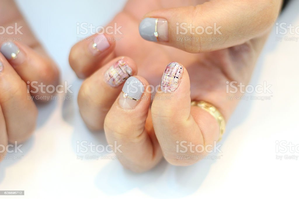 Tweed Pastel Nail Art Design Stock Photo More Pictures Of Adult