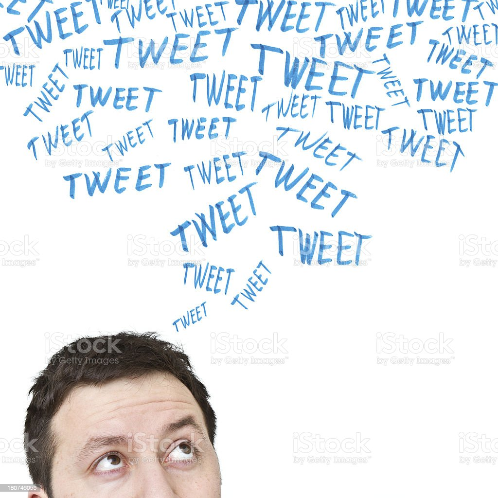 tweet messages on whiteboard royalty-free stock photo