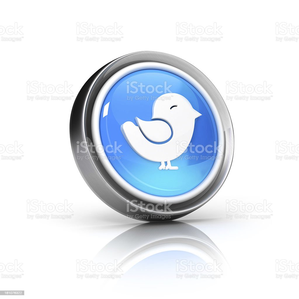 tweeting bird 3d glossy icon royalty-free stock photo