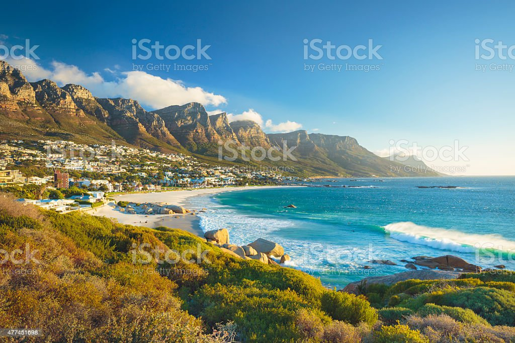 Twelve Apostles mountain in Camps Bay, Cape Town, South Africa Beach and Twelve Apostles mountain in Camps Bay near Cape Town in South Africa. 2015 Stock Photo