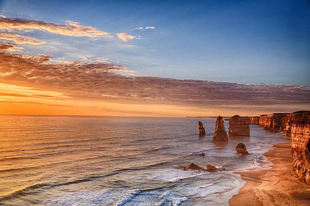 Twelve Apostles, Port Campbell National Park at sunset stock photo