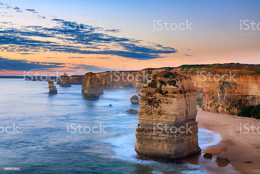 Twelve Apostles, Port Campbell National Park at sunset stock photo