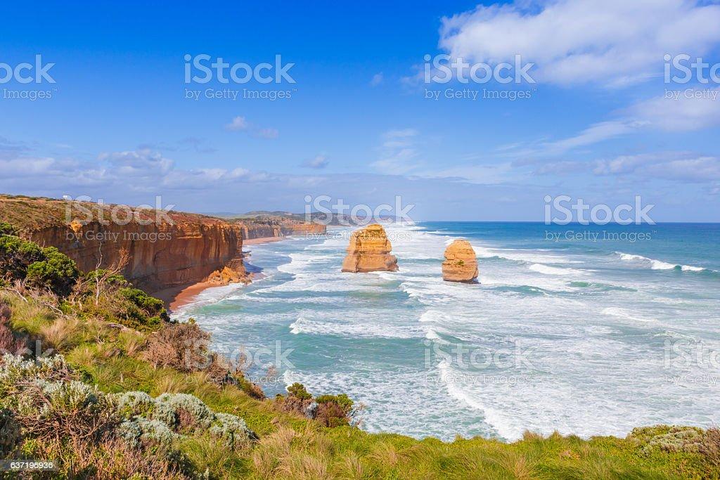 Twelve Apostles rock formation in Southern Australia stock photo