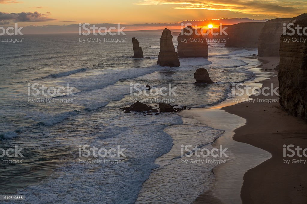 Twelve Apostles sea rocks at sunset, Port Campbell National Park stock photo