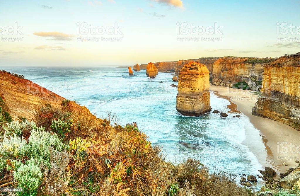 Twelve Apostles sea rocks Great Ocean Road stock photo
