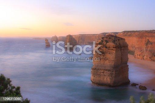 Soft focus, Twelve Apostles Sea Rocks near Great Ocean Road. Port Campbell National Park, Australia
