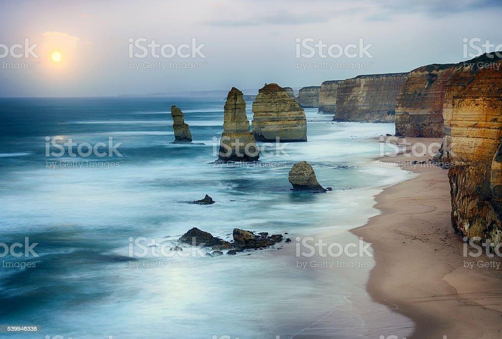 Twelve apostles sea rocks stock photo