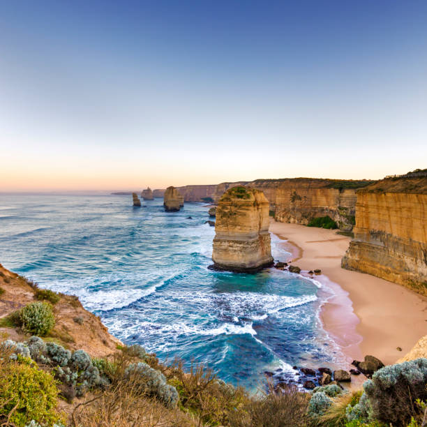 Twelve Apostles Victoria Australia at Sunrise stock photo