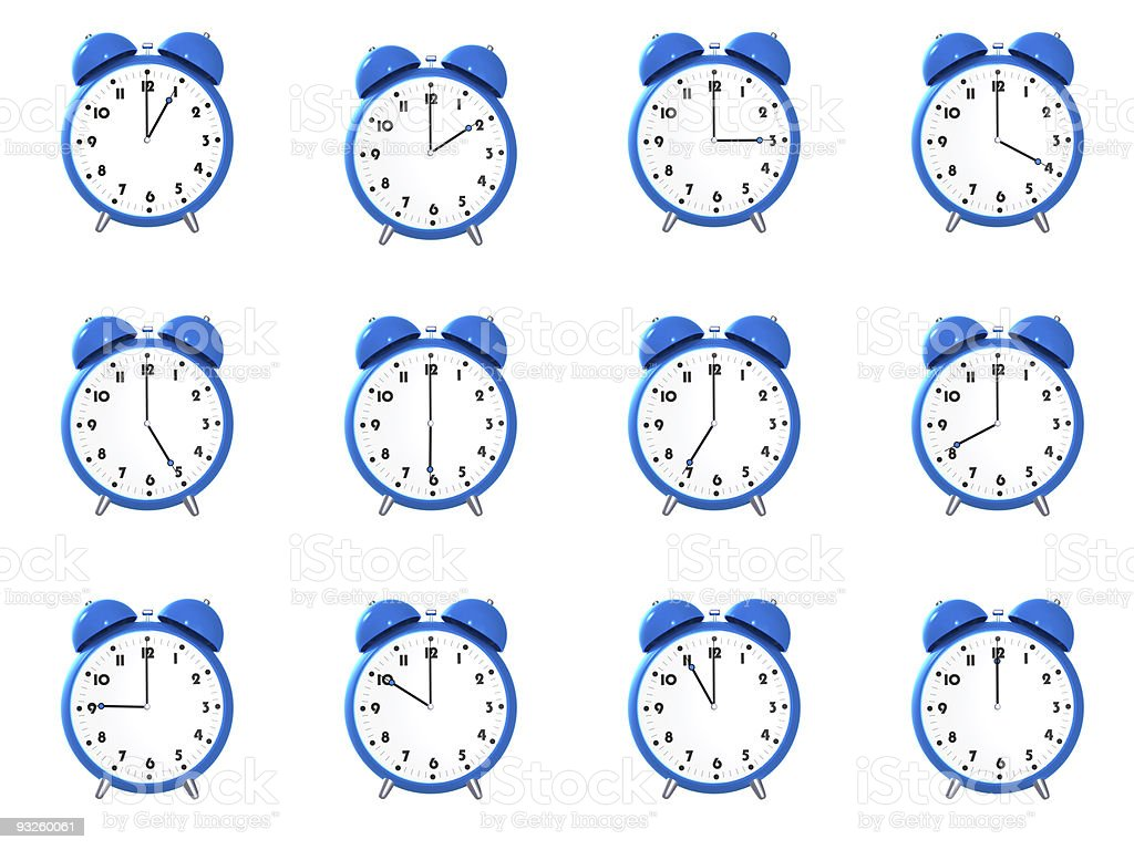 Twelve blue alarm clock's royalty-free stock photo