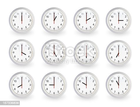 istock Twelve clocks, 12 hours. 157336836