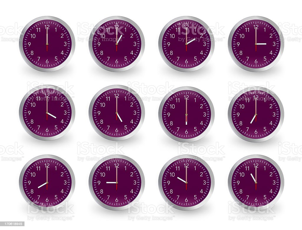 Twelve clocks, 12 hours. royalty-free stock photo