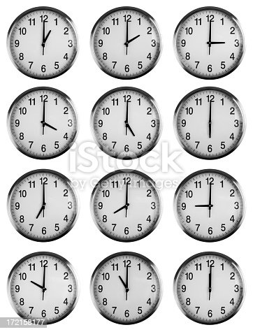 istock Twelve clocks showing each hour 172158177