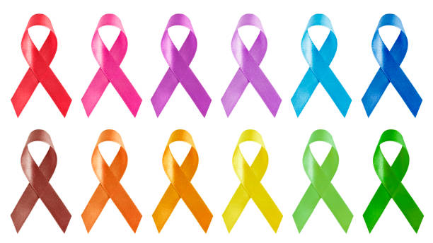 twelve colors of awareness ribbons isolated on white background - ovarian cancer ribbon stock pictures, royalty-free photos & images
