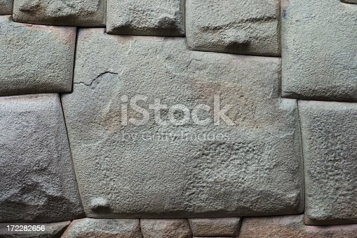 A carved, complex wall stone with twelve corner points on a street in Cuzco, Peru. Inca natives sculpted the intricate angles to fit precisely into other rocks on the natural material surface. The built structures are architectural marvels and archeological mysteries of technique. Horizontal format with copy space and no people.