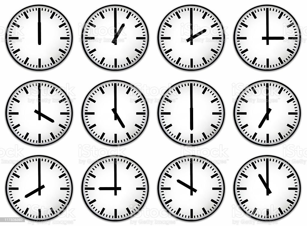 Twelve hours clock face stock photo