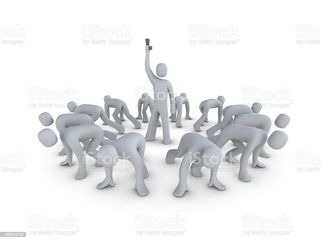 Twelve Men on a Circular starting position royalty-free stock photo