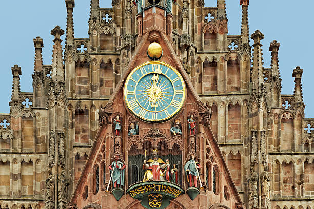 twelve o clock - Frauenkirche in Nuremberg with famous carillion stock photo