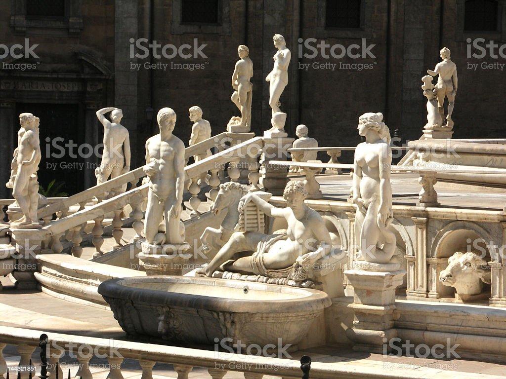 Twelve Olympians  pretoria square palermo royalty-free stock photo