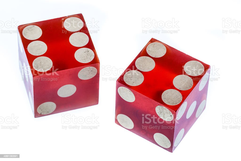 Twelve! two red clear plastic dices isolated over white Casino Stock Photo