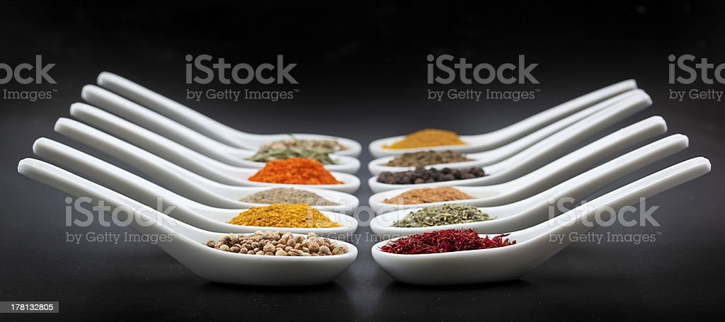 Twelve spices stock photo