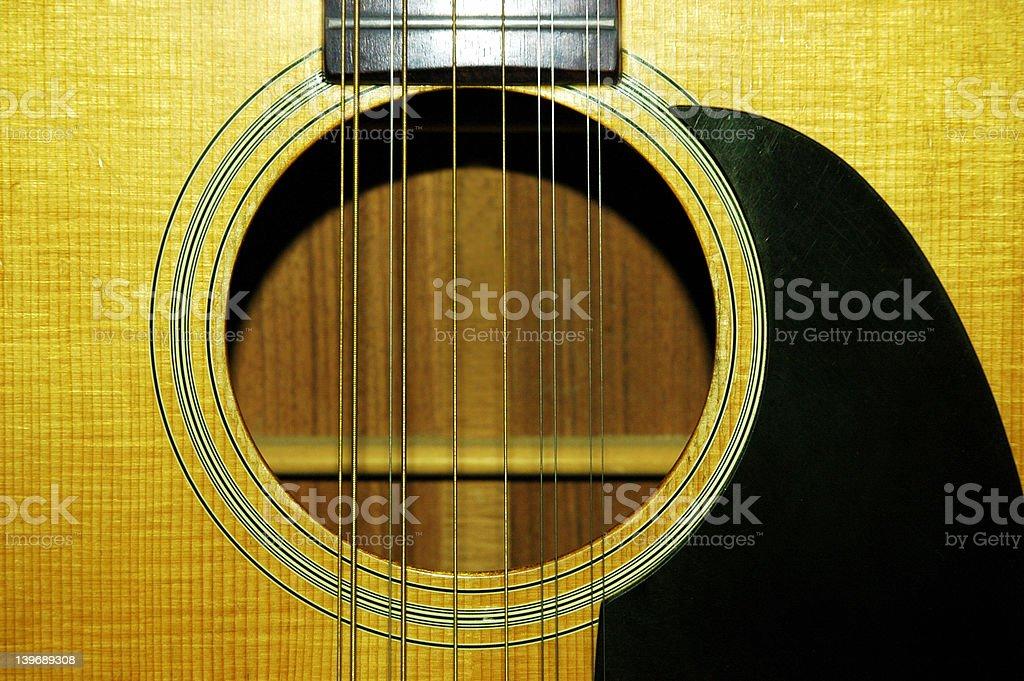 Twelve string guitar sound hole stock photo
