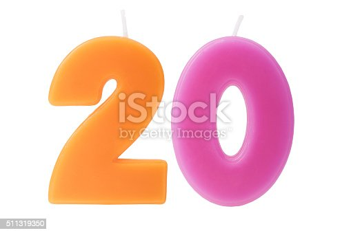 istock Twentieth birthday candles isolated 511319350