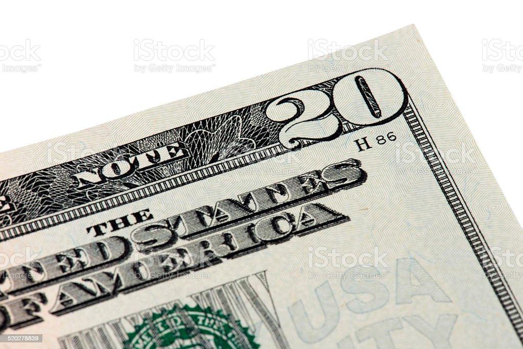 Twenty American Dollar Bill stock photo