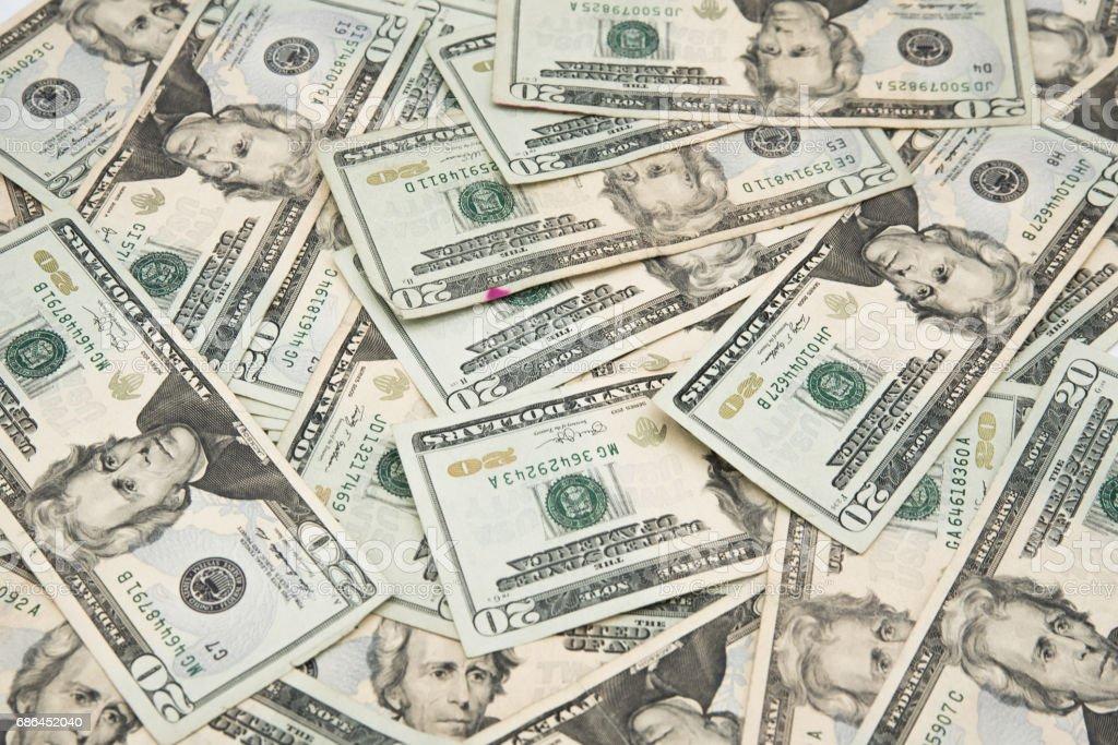 Twenty american dollars bills on a table stock photo