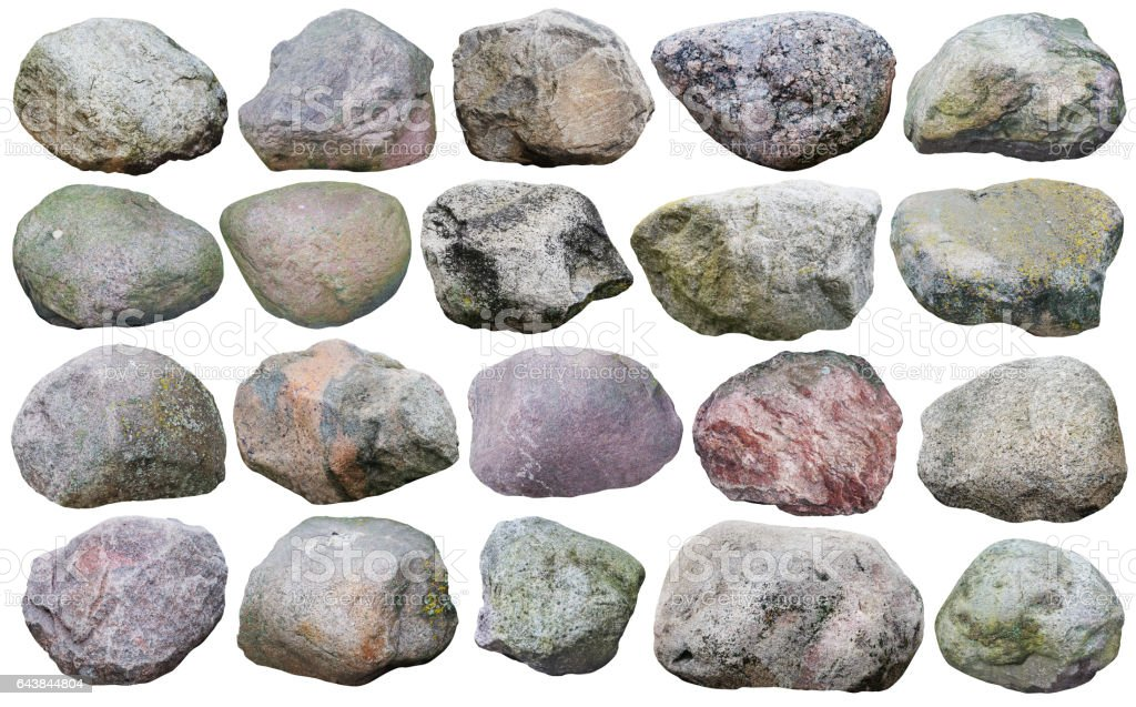 Twenty big granite stones and  boulders of various forms and colors  set. Isolated on white collage from many  outdoor photos stock photo