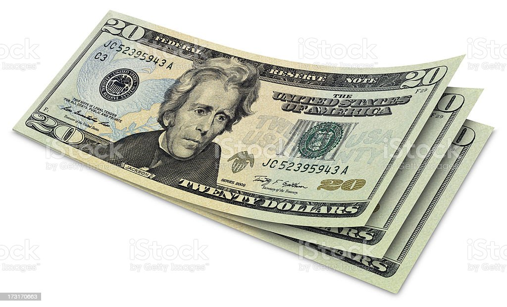 Twenty Dollar Banknotes royalty-free stock photo