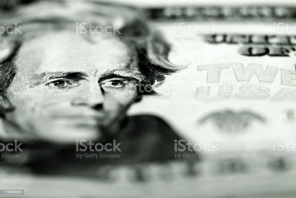 Twenty Dollar Bill Closeup royalty-free stock photo