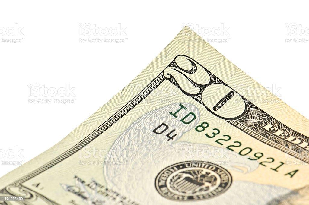 Twenty Dollar Bill Detail stock photo