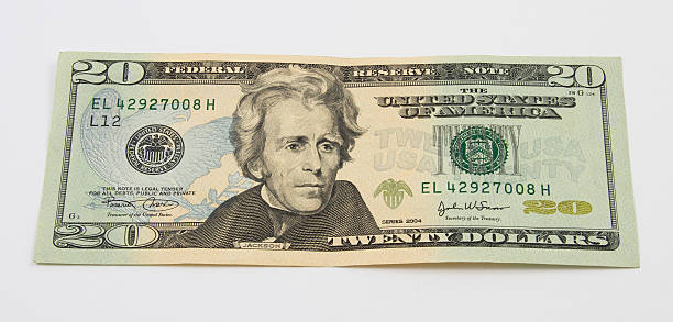 us twenty dollar bill - number 20 stock photos and pictures