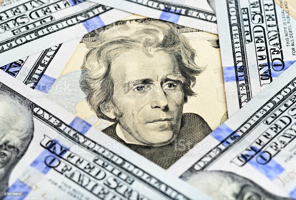 Twenty Dollar Bill - President Jackson stock photo