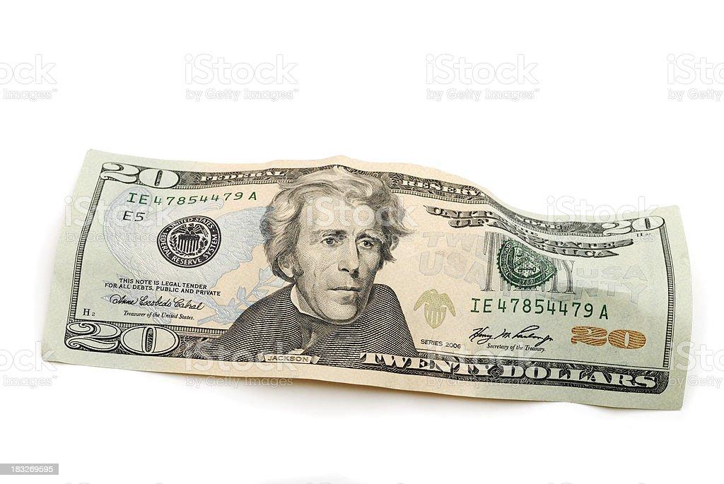 Twenty Dollar Bill US Currency Money stock photo
